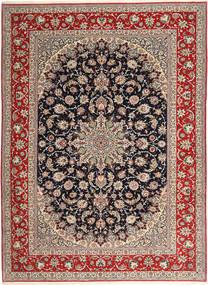 Isfahan Silkkiloimi Matto 265X363 Itämainen Käsinsolmittu Vaaleanharmaa/Tummanpunainen Isot (Villa/Silkki, Persia/Iran)