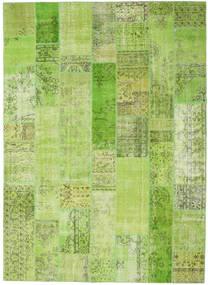 Patchwork Matto 253X350 Moderni Käsinsolmittu Vaaleanvihreä/Oliivinvihreä Isot (Villa, Turkki)