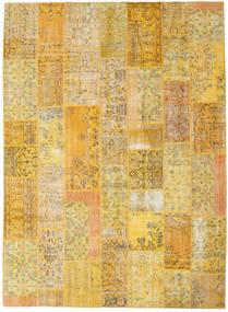 Patchwork Matto 253X346 Moderni Käsinsolmittu Keltainen/Vaaleanruskea Isot (Villa, Turkki)