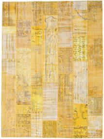 Patchwork Matto 273X368 Moderni Käsinsolmittu Tummanbeige/Keltainen Isot (Villa, Turkki)