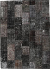 Patchwork Matto 273X375 Moderni Käsinsolmittu Tummanharmaa/Musta Isot (Villa, Turkki)