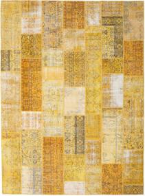 Patchwork Matto 275X374 Moderni Käsinsolmittu Keltainen/Vaaleanruskea Isot (Villa, Turkki)