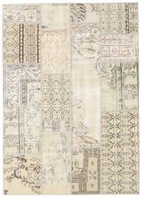 Patchwork Matto 140X196 Moderni Käsinsolmittu Beige/Vaaleanharmaa (Villa, Turkki)