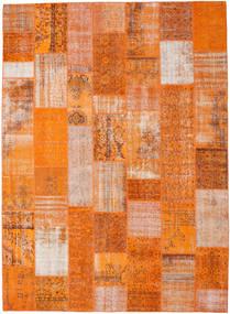 Patchwork Matto 273X374 Moderni Käsinsolmittu Oranssi/Vaaleanruskea Isot (Villa, Turkki)