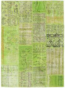 Patchwork Matto 141X195 Moderni Käsinsolmittu Vaaleanvihreä/Oliivinvihreä (Villa, Turkki)