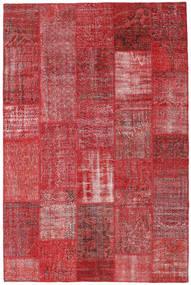 Patchwork Matto 200X304 Moderni Käsinsolmittu Tummanpunainen/Punainen (Villa, Turkki)