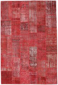 Patchwork Matto 204X302 Moderni Käsinsolmittu Tummanpunainen/Punainen (Villa, Turkki)