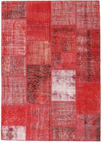 Patchwork Matto 162X230 Moderni Käsinsolmittu Ruoste/Tummanpunainen/Punainen (Villa, Turkki)