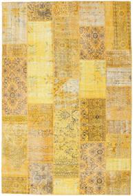 Patchwork Matto 202X302 Moderni Käsinsolmittu Keltainen/Vaaleanruskea/Tummanbeige (Villa, Turkki)