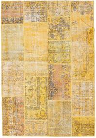 Patchwork Matto 160X235 Moderni Käsinsolmittu Keltainen/Vaaleanruskea (Villa, Turkki)