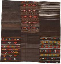 Kelim Patchwork Matto 208X212 Moderni Käsinkudottu Neliö Tummanruskea (Villa, Turkki)