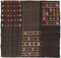 Kelim Patchwork Matto 203X207 Moderni Käsinkudottu Neliö Tummanruskea (Villa, Turkki)