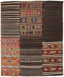 Kelim Patchwork Matto 194X234 Moderni Käsinkudottu Tummanruskea/Tummanpunainen (Villa, Turkki)
