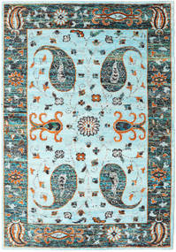 Vega Sari Silkki - L.blue Matto 210X290 Moderni Käsinsolmittu Siniturkoosi/Vaaleanharmaa (Silkki, Intia)