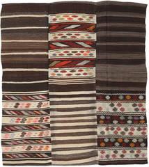 Kelim Patchwork Matto 192X220 Moderni Käsinkudottu Tummanruskea/Vaaleanharmaa (Villa, Turkki)