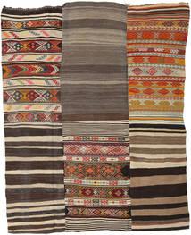 Kelim Patchwork Matto 199X253 Moderni Käsinkudottu Tummanharmaa/Tummanpunainen (Villa, Turkki)
