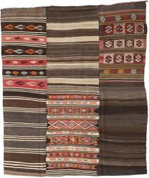 Kelim Patchwork Matto 210X248 Moderni Käsinkudottu Tummanruskea/Tummanharmaa (Villa, Turkki)