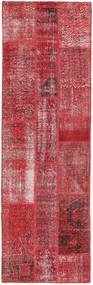 Patchwork Matto 80X257 Moderni Käsinsolmittu Käytävämatto Tummanpunainen/Punainen (Villa, Turkki)