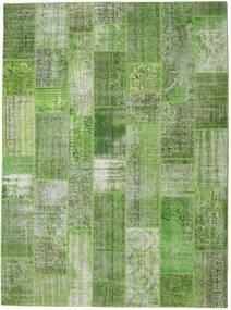 Patchwork Matto 273X371 Moderni Käsinsolmittu Tummanvihreä/Pastellinvihreä/Tummanharmaa/Vaaleanvihreä Isot (Villa, Turkki)