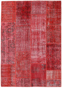Patchwork Matto 160X230 Moderni Käsinsolmittu Punainen/Ruoste (Villa, Turkki)