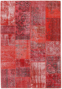 Patchwork Matto 160X232 Moderni Käsinsolmittu Punainen/Ruoste (Villa, Turkki)