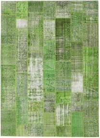 Patchwork Matto 254X348 Moderni Käsinsolmittu Tummanvihreä/Pastellinvihreä/Vaaleanvihreä Isot (Villa, Turkki)