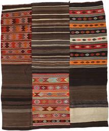 Kelim Patchwork Matto 219X262 Moderni Käsinkudottu Tummanruskea (Villa, Turkki)