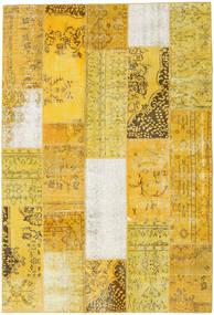 Patchwork Matto 204X301 Moderni Käsinsolmittu Keltainen/Tummanbeige (Villa, Turkki)