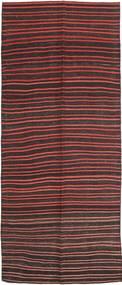 Kelim Fars Matto 143X360 Itämainen Käsinkudottu Käytävämatto Tummanruskea/Tummanpunainen (Villa, Persia/Iran)