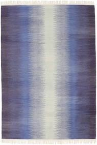 Ikat - Tumma Sininen Matto 140X200 Moderni Käsinkudottu Violetti/Vaaleanharmaa/Vaaleanvioletti (Villa, Intia)