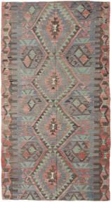 Kelim Turkki Matto 150X280 Itämainen Käsinkudottu Tummanharmaa/Vaaleanharmaa (Villa, Turkki)