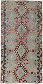 Kelim Turkki Matto 160X308 Itämainen Käsinkudottu Tummanharmaa/Vaaleanharmaa (Villa, Turkki)