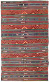 Kelim Turkki Matto 170X296 Itämainen Käsinkudottu Tummanpunainen/Tummanvihreä (Villa, Turkki)
