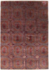 Damask Matto 169X242 Moderni Käsinsolmittu Tummanpunainen/Tummanruskea ( Intia)