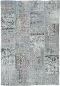 Patchwork Matto 157X231 Moderni Käsinsolmittu Vaaleanharmaa (Villa, Turkki)