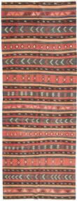 Kelim Matto 152X403 Itämainen Käsinkudottu Käytävämatto Vaaleanruskea/Tummanharmaa (Villa, Persia/Iran)