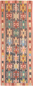 Kelim Matto 147X397 Itämainen Käsinkudottu Käytävämatto Tummanharmaa/Vaaleanpunainen (Villa, Persia/Iran)