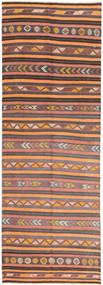 Kelim Fars Matto 145X427 Itämainen Käsinkudottu Käytävämatto Vaaleanruskea/Oranssi (Villa, Persia/Iran)
