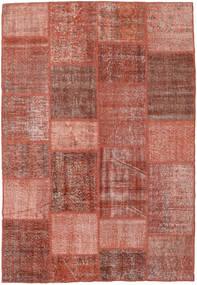 Patchwork Matto 158X230 Moderni Käsinsolmittu Tummanpunainen/Vaaleanruskea (Villa, Turkki)