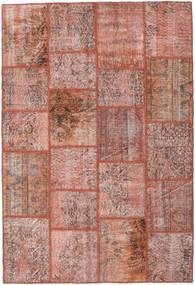 Patchwork Matto 159X234 Moderni Käsinsolmittu Tummanpunainen/Vaaleanpunainen (Villa, Turkki)