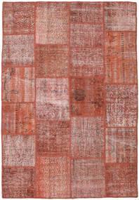Patchwork Matto 156X228 Moderni Käsinsolmittu Tummanpunainen/Vaaleanpunainen (Villa, Turkki)
