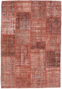Patchwork Matto 158X232 Moderni Käsinsolmittu Tummanpunainen/Vaaleanruskea (Villa, Turkki)