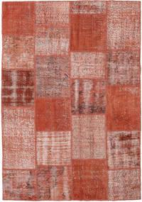 Patchwork Matto 154X223 Moderni Käsinsolmittu Tummanpunainen/Punainen (Villa, Turkki)