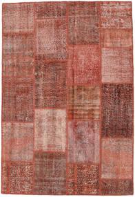 Patchwork Matto 158X232 Moderni Käsinsolmittu Tummanpunainen/Vaaleanpunainen (Villa, Turkki)
