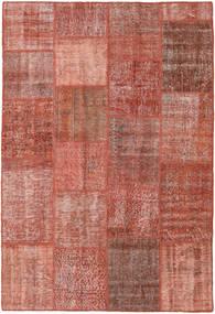 Patchwork Matto 157X232 Moderni Käsinsolmittu Tummanpunainen/Vaaleanruskea (Villa, Turkki)