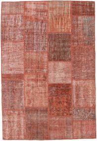 Patchwork Matto 160X233 Moderni Käsinsolmittu Tummanpunainen/Vaaleanpunainen (Villa, Turkki)