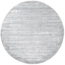 Bamboo Silkki Loom - Harmaa Matto Ø 200 Moderni Pyöreä Vaaleanharmaa/Valkoinen/Creme ( Intia)