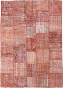 Patchwork Matto 251X352 Moderni Käsinsolmittu Tummanpunainen/Vaaleanpunainen Isot (Villa, Turkki)