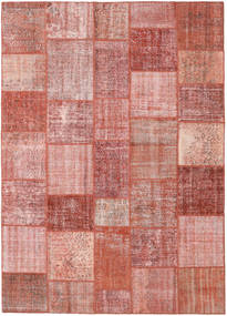 Patchwork Matto 246X348 Moderni Käsinsolmittu Tummanpunainen/Vaaleanpunainen (Villa, Turkki)