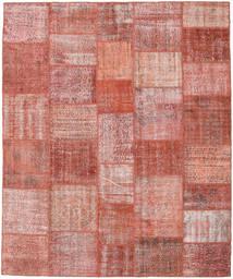 Patchwork Matto 247X298 Moderni Käsinsolmittu Tummanpunainen/Vaaleanpunainen (Villa, Turkki)